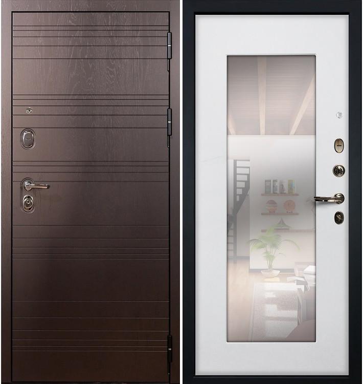 Входная дверь Легион Ясень шоколадный / с зеркалом Белый ясень (панель №37)