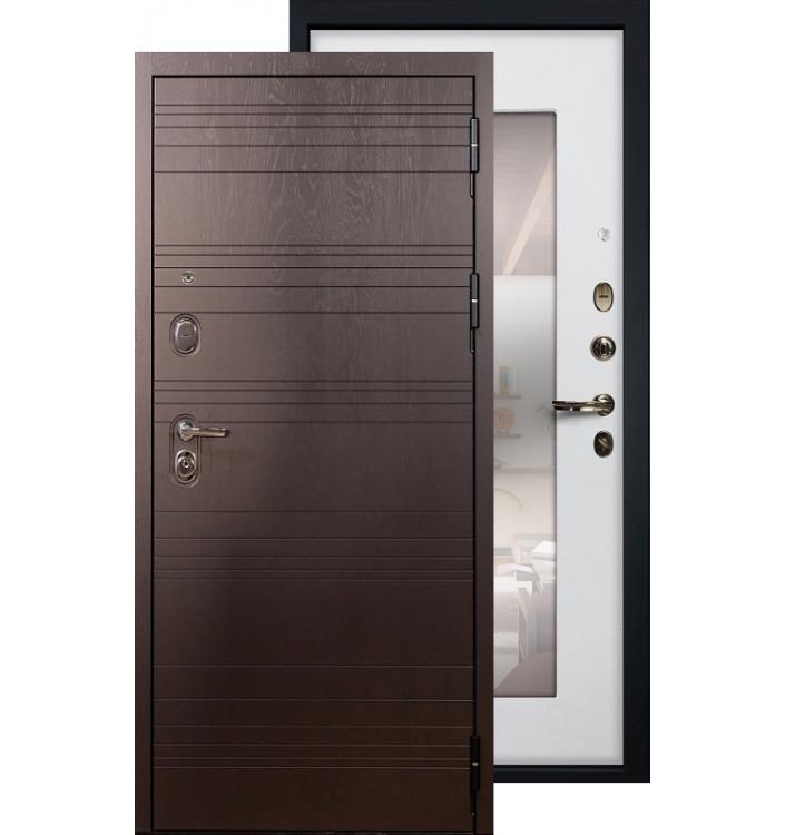 Входная дверь Лекс Легион с зеркалом (Белый ясень)