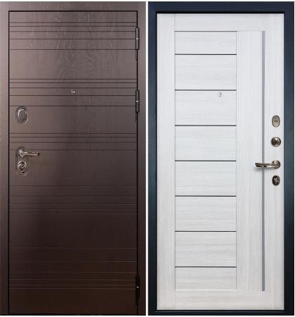 Входная дверь Легион Ясень шоколадный / Верджиния Беленый дуб (панель №38)