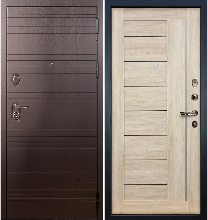 Входная дверь Легион Ясень шоколадный / Верджиния Кремовый ясень (панель №40)
