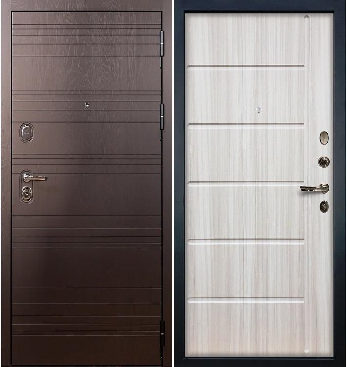 Входная дверь Легион Ясень шоколадный / Сандал белый (панель №42)