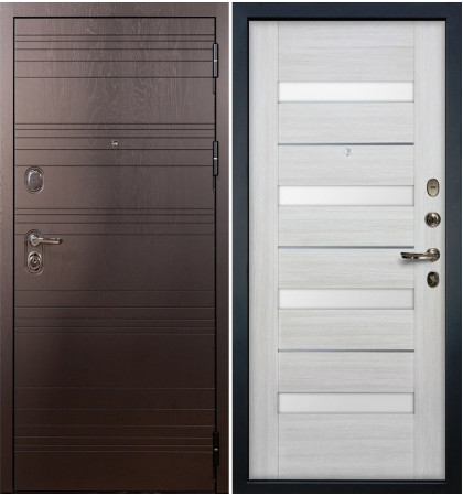Входная дверь Легион Ясень шоколадный / Сицилио Беленый дуб (панель №46)