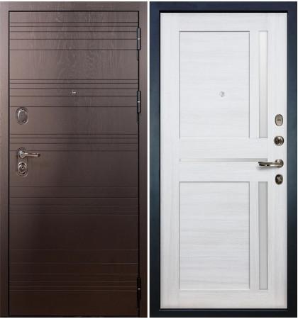 Входная дверь Легион Ясень шоколадный / Баджио Беленый дуб (панель №47)