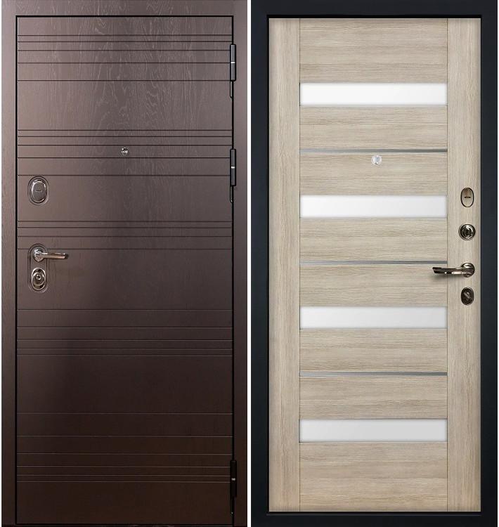 Входная дверь Легион Ясень шоколадный / Сицилио Ясень кремовый (панель №48)