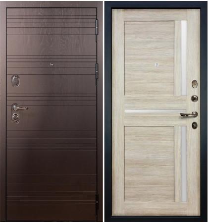 Входная дверь Легион Ясень шоколадный / Баджио Кремовый ясень (панель №49)