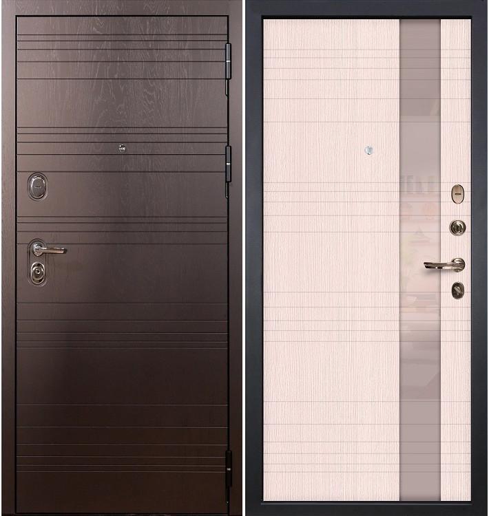 Входная дверь Легион Ясень шоколадный / Новита Беленый дуб (панель №52)