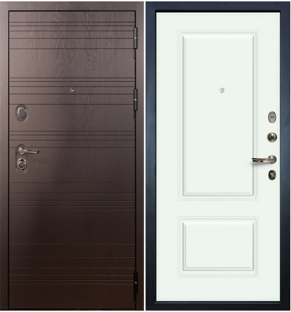 Входная дверь Легион Ясень шоколадный / Вероника Белая эмаль (панель №55)