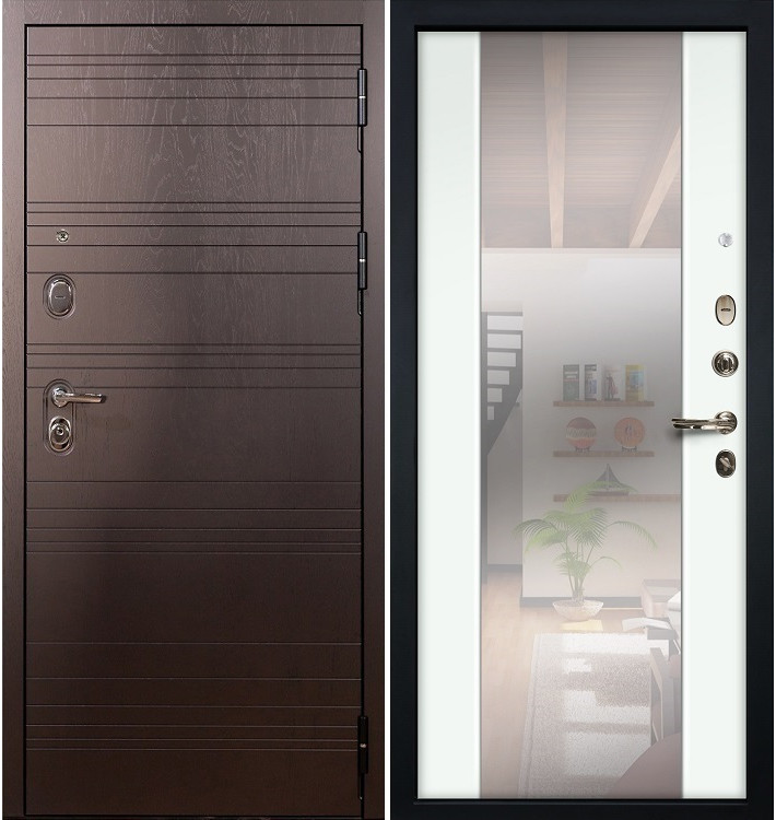 Входная дверь Легион Ясень шоколадный / Стиль Белый экошпон (панель №61)