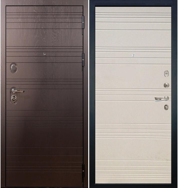 Входная дверь Легион Ясень шоколадный / Дуб фактурный крем (панель №63)