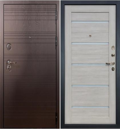 Входная дверь Легион Ясень шоколадный / Клеопатра Ясень кремовый (панель №66)
