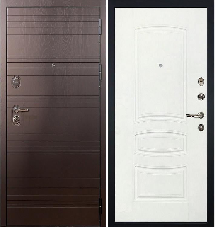 Входная дверь Легион Ясень шоколадный / Белая шагрень (панель №68)
