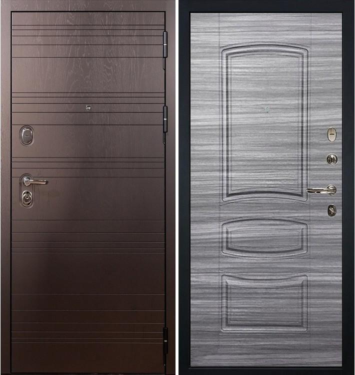 Входная дверь Легион Ясень шоколадный / Сандал серый (панель №69)
