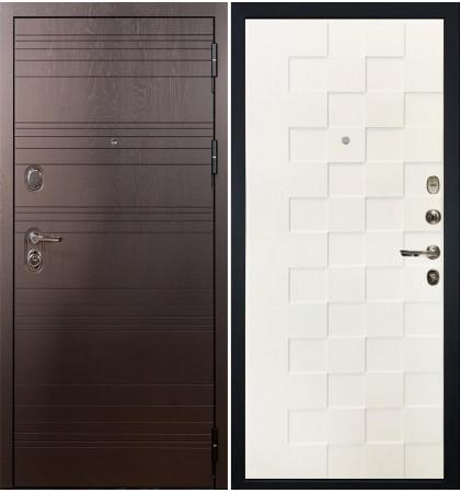 Входная дверь Легион Ясень шоколадный / Квадро Белая шагрень (панель №71)