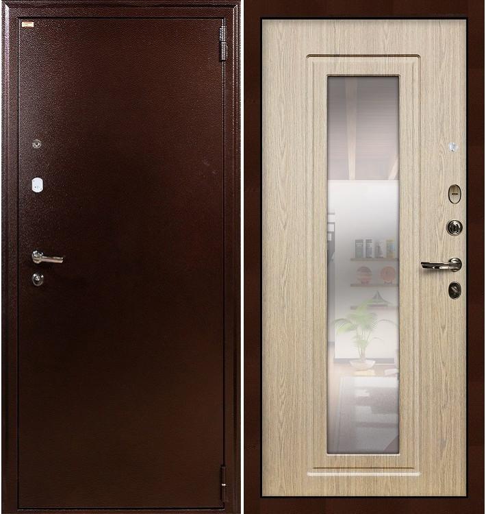 Входная дверь Лекс 1А / с зеркалом Беленый дуб (панель №23)