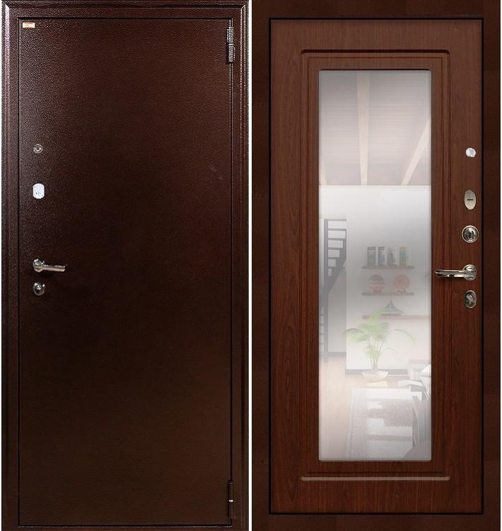 Входная дверь Лекс 1А / с зеркалом Береза мореная (панель №30)