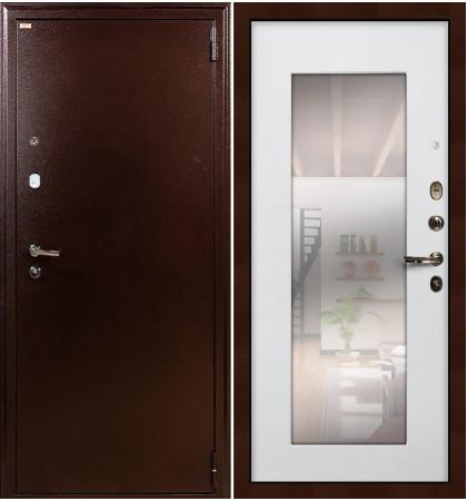 Входная дверь Лекс 1А / с зеркалом Белый ясень (панель №37)