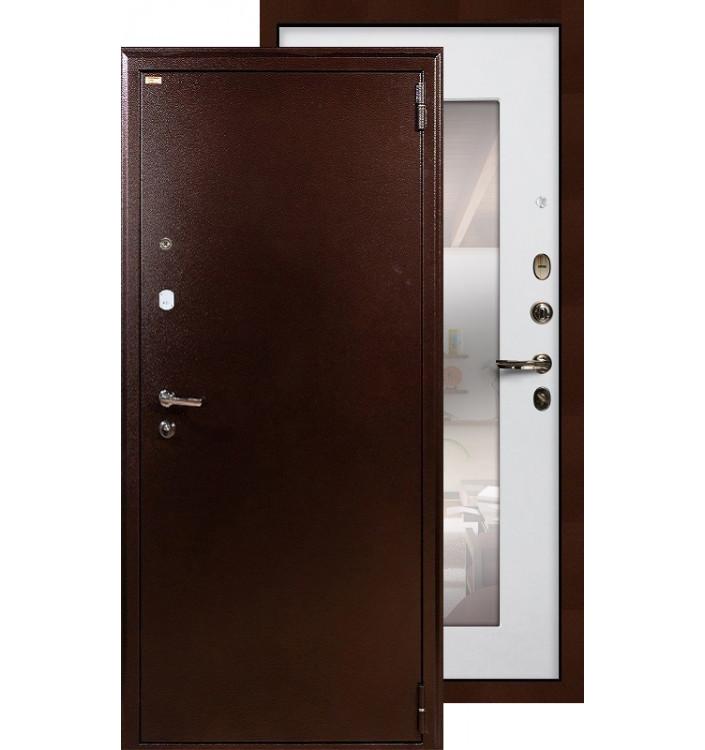 Входная дверь Лекс 1А с зеркалом (Белый ясень)