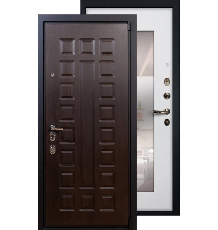 Входная дверь Лекс Неаполь 4А с зеркалом (Белый ясень)