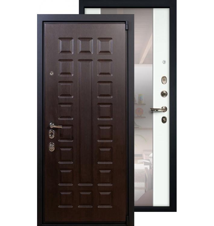 Входная дверь Лекс Неаполь с большим зеркалом (Белый ясень)