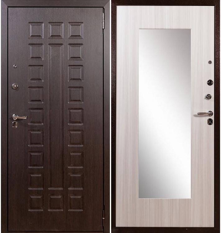 Входная дверь Гладиатор Нео с зеркалом (Сандал белый)