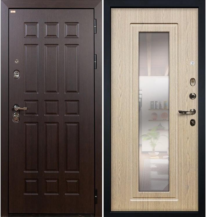 Входная дверь Сенатор / с зеркалом Беленый дуб (панель №23)