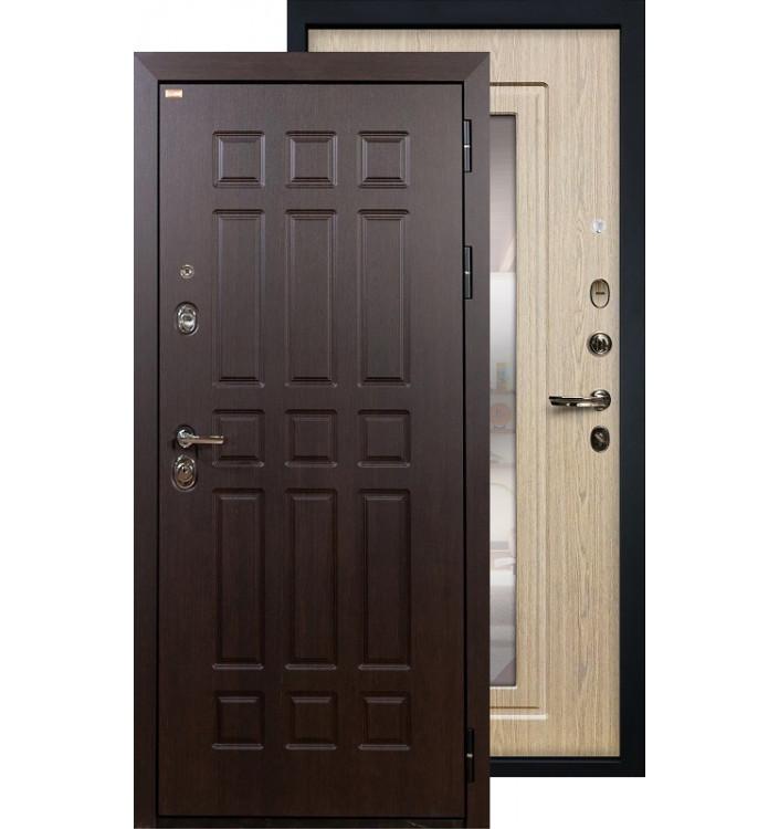 Входная дверь Лекс Сенатор с зеркалом (Беленый дуб)