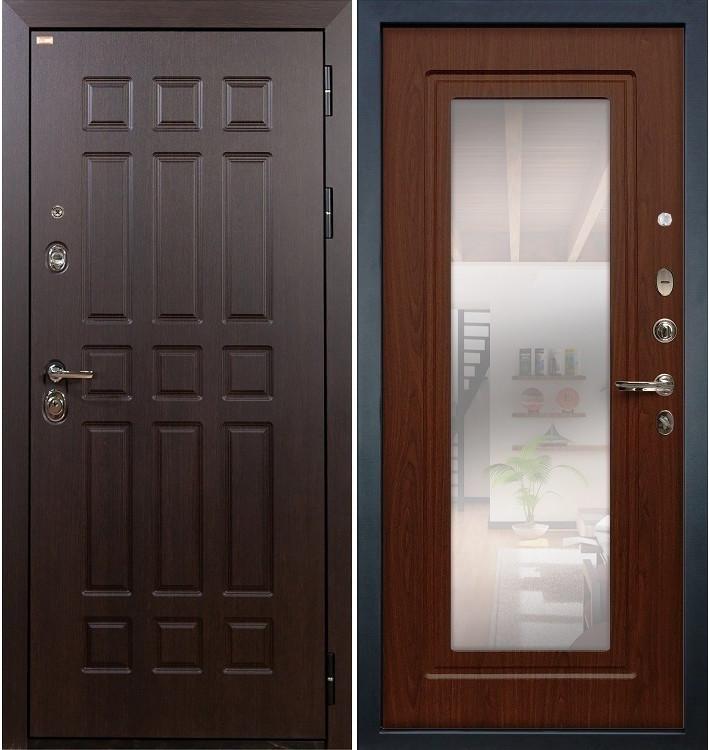 Входная дверь Сенатор / с зеркалом Береза мореная (панель №30)