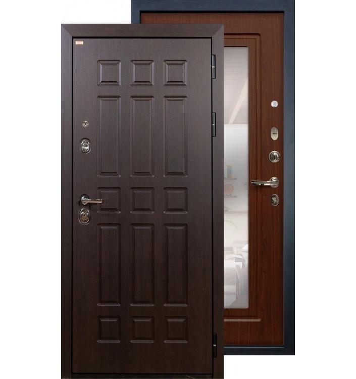 Входная дверь Лекс Сенатор с зеркалом (Береза мореная)