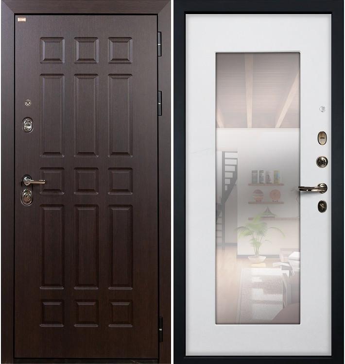 Входная дверь Сенатор / с зеркалом Белый ясень (панель №37)