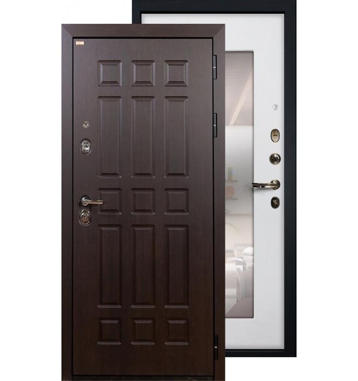 Входная дверь Лекс Сенатор с зеркалом (Белый ясень)
