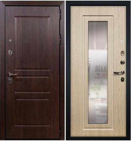 Входная дверь Сенатор Винорит / с зеркалом Беленый дуб (панель №23)