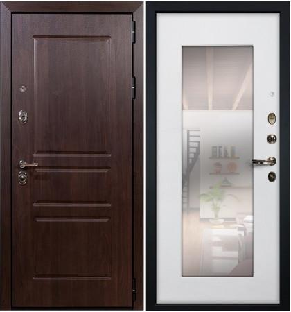 Входная дверь Сенатор Винорит / с зеркалом Белый ясень (панель №37)