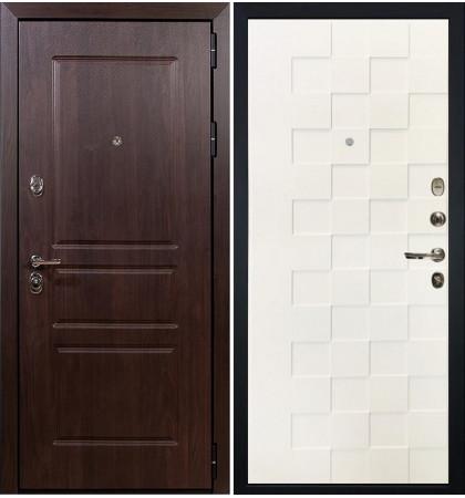 Входная дверь Сенатор Винорит / Квадро Белая шагрень (панель №71)