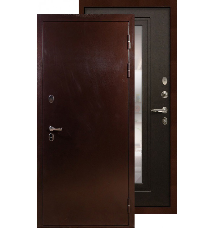 Входная дверь Лекс Термо Сибирь 3К с зеркалом (Венге)