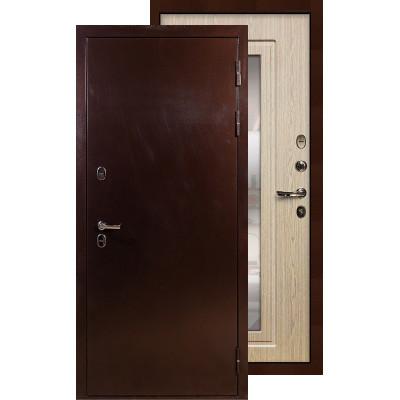 Входная дверь Лекс Термо Сибирь 3К с зеркалом (Беленый дуб)