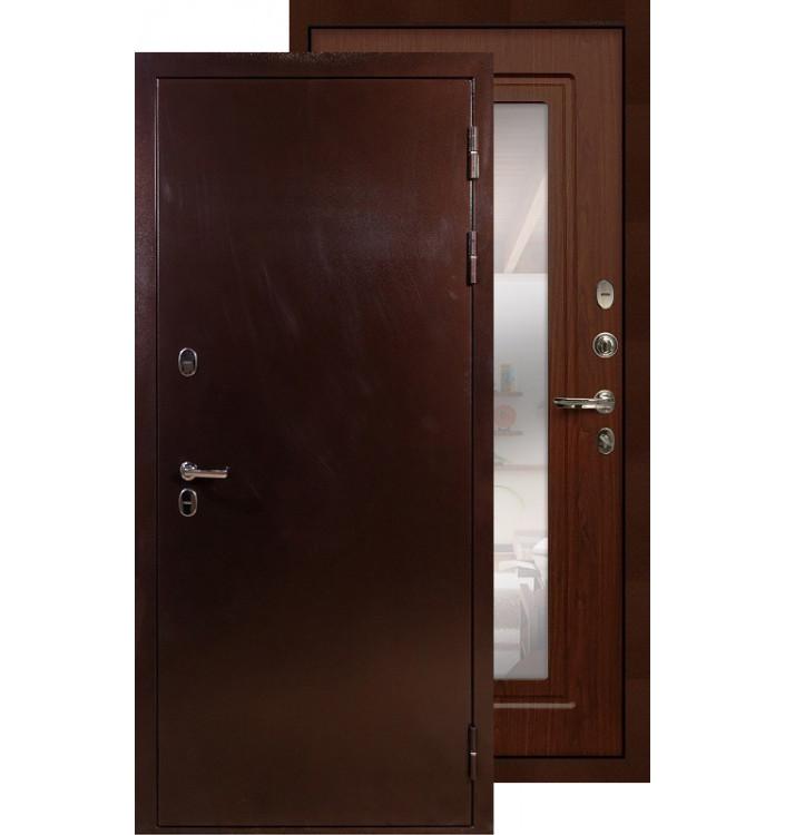 Входная дверь Лекс Термо Сибирь 3К с зеркалом (Береза мореная)
