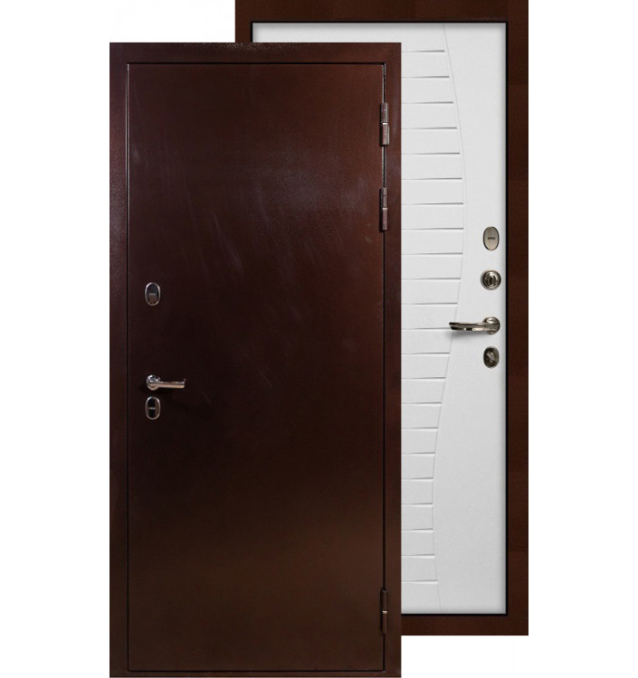 Входная дверь Лекс Термо Сибирь 3К Волна (Белый ясень)