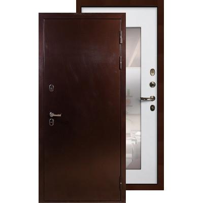 Входная дверь Лекс Термо Сибирь 3К с зеркалом (Белый ясень)