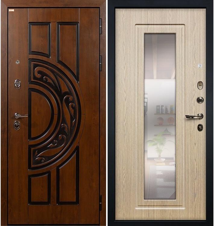 Входная дверь Спартак CISA / с зеркалом Беленый дуб (панель №23)
