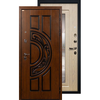 Входная дверь Лекс Спартак с зеркалом (Беленый дуб)