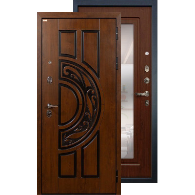 Входная дверь Лекс Спартак с зеркалом (Береза мореная)