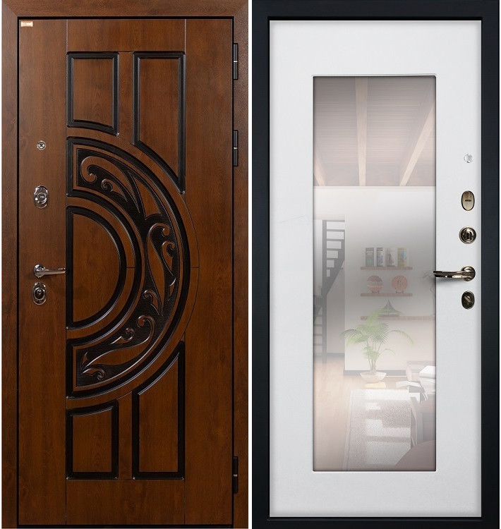 Входная дверь Спартак CISA / с зеркалом Белый ясень (панель №37)