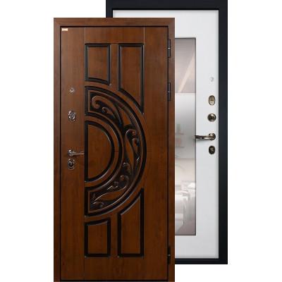 Входная дверь Лекс Спартак с зеркалом (Белый ясень)