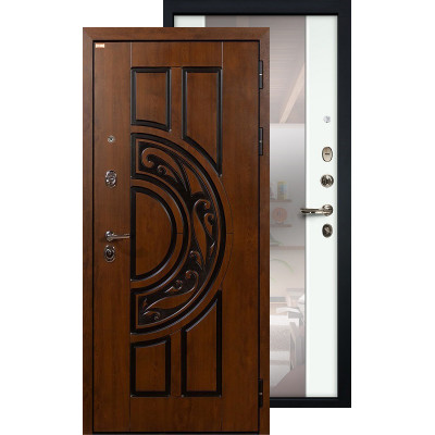 Входная дверь Лекс Спартак с большим зеркалом (Белый ясень)