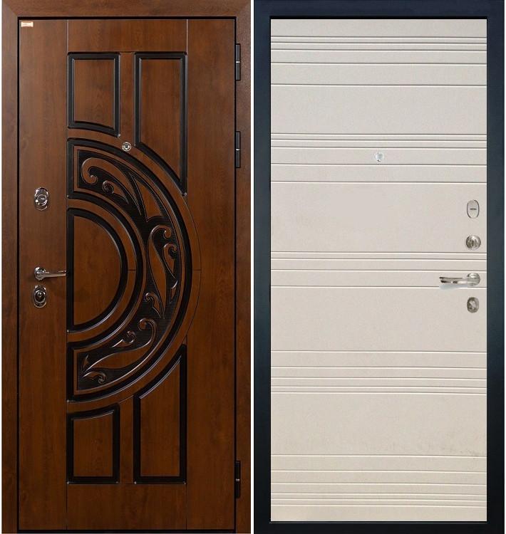 Входная дверь Спартак CISA / Дуб фактурный крем (панель №63)