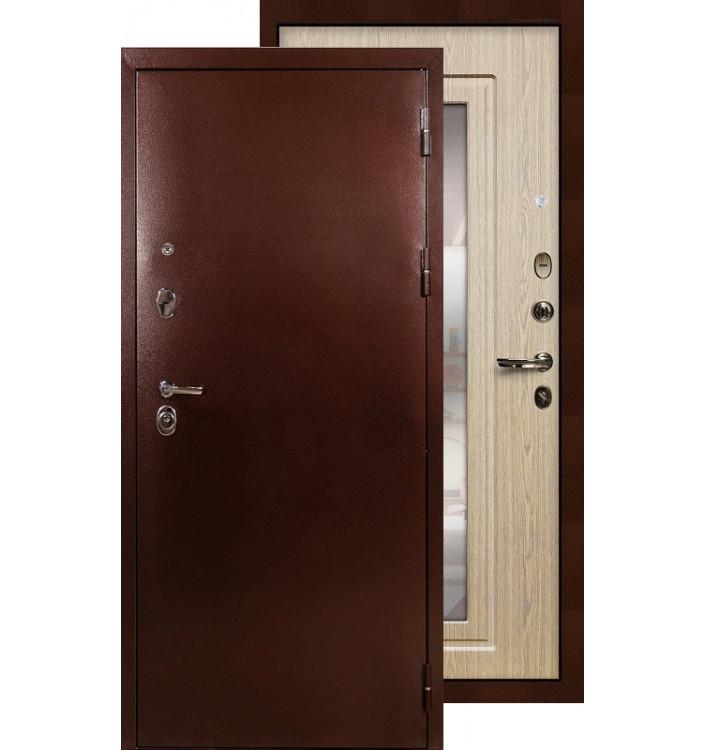 Входная дверь Лекс Титан медь с зеркалом (Беленый дуб)