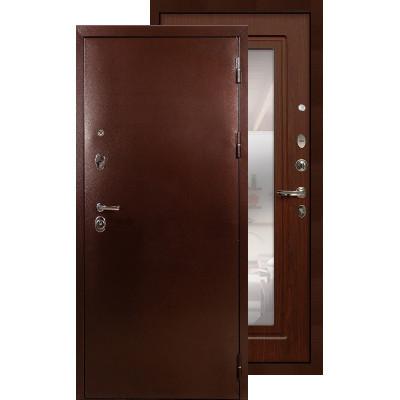 Входная дверь Лекс Титан медь с зеркалом (Береза мореная)