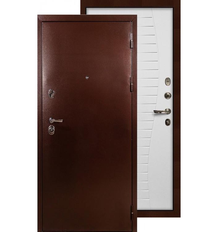 Входная дверь Лекс Титан медь Волна (Белый ясень)