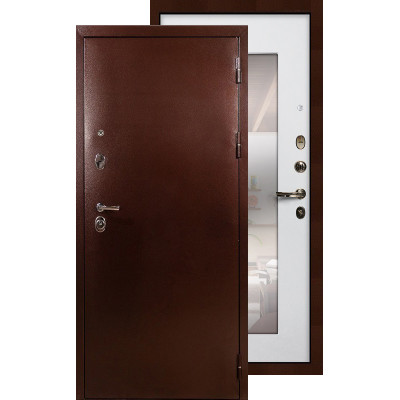 Входная дверь Лекс Титан медь с зеркалом (Белый ясень)