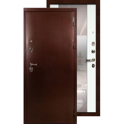 Входная дверь Лекс Титан медь с большим зеркалом (Белый ясень)